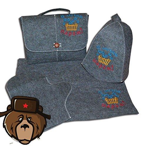 RussianBear Gray Wool Mixture Kit For Russian Banya And Sauna Bag Glove Hat And Mat Enjoy Your Banya