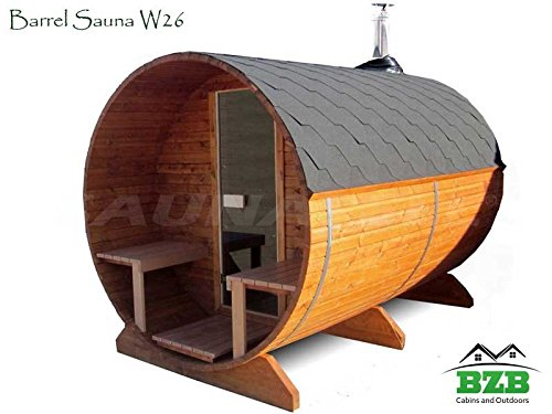 BZBCabinscom Barrel Sauna Kit W26 4 Person Outdoor Sauna With Harvia M3 Wood Burning Heater
