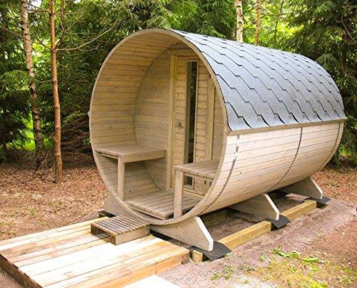 Barrel Sauna Kit BZBCabinscom W29 4 Person Outdoor Sauna With Harvia M3 Wood Burning Heater