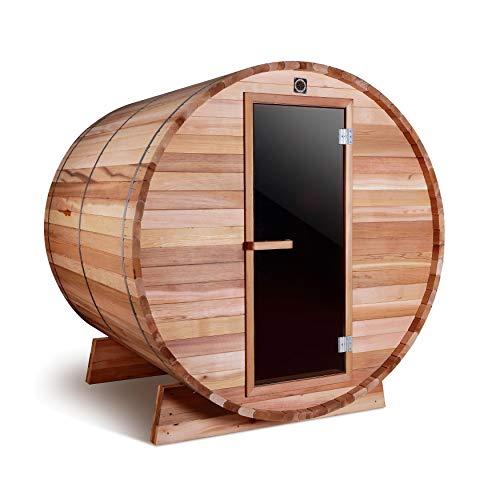 ALEKO SB4CEDAR Rustic Red Cedar Indoor Outdoor Wet Dry Barrel Sauna and Steam Room 45 kW ETL Certified Heater 4 Person 83 x 72 x 75 Inches