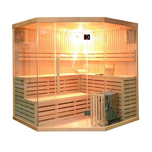 ALEKO SEA5JIU Canadian Hemlock Indoor Wet Dry Mini Sauna and Steam Room 6 kW ETL Certified Heater 5 to 6-Person Sauna - 75 x 75 x 83 Inches