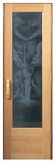 Sauna Door Multonomah Falls Design Glass With Negative Image Mfn