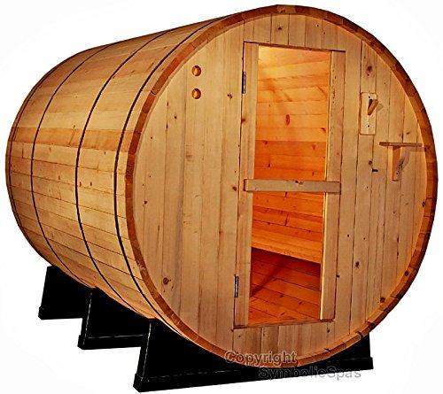 4 Person Outdoor 6 Ft Barrel Steam Sauna Pine Wood - 6KW Wet Dry Heater 220V 28 Amp - 1 Year Parts Warranty - Model 6FTPN-sds
