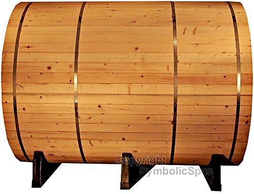 6 Person Outdoor 8 Ft Barrel Steam Sauna Pine Wood - 9KW Wet Dry Heater 220V 42 Amp - 1 Year Parts Warranty - Model 8FTPN-sds