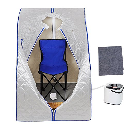 MegaBrand 2L Portable Steam Sauna Tent SPA Detox Weight Loss w Chair Silver