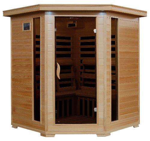4-person Hemlock Corner Infrared Sauna W 10 Carbon Heaters