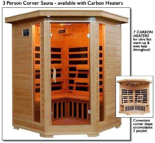 3 Person Sauna Corner Fitting Infrared Fir Far 7 Carbon Heaters Hemlock Wood Cd Player Mp3 Plug-in