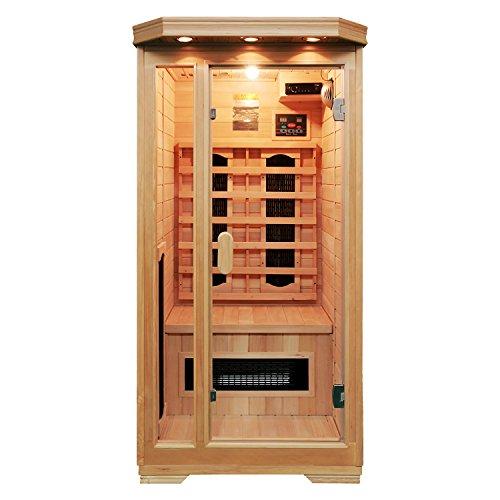 Soozier Wooden Indoor 2 Person Square Heat Room Infrared Sauna W Ceramic Heater