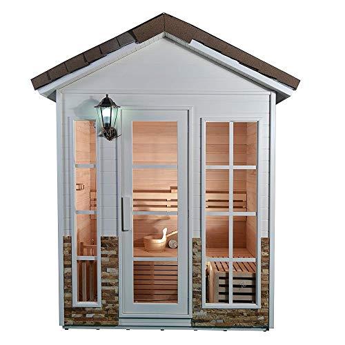 ALEKO CED4KEMI Outdoor Canadian Red Cedar Wood Wet Dry Sauna - 4 Person - 45 kW ETL Electrical Heater - Stone Finish