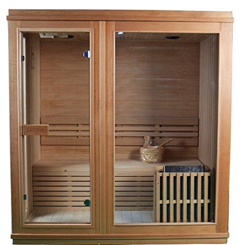 ALEKO STI4TURKU Canadian Hemlock Indoor Wet Dry Sauna with 45 kW ETL Certified Heater 4-Person Sauna - 71 x 47 x 75 Inches