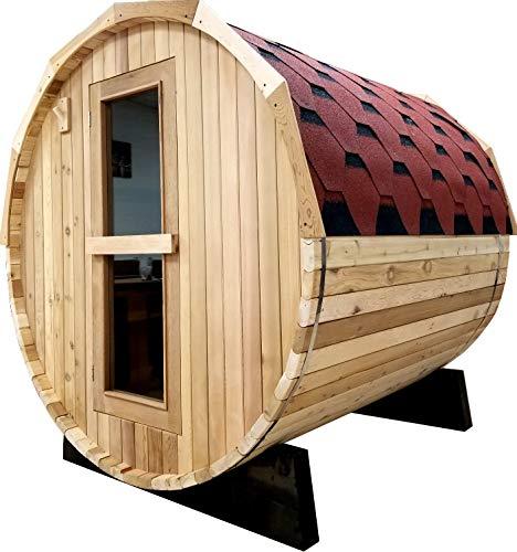 SDI Factory Direct Canadian Red Cedar Wet Dry Traditional Steam 6 Barrel Sauna wRoof 6KW Heater