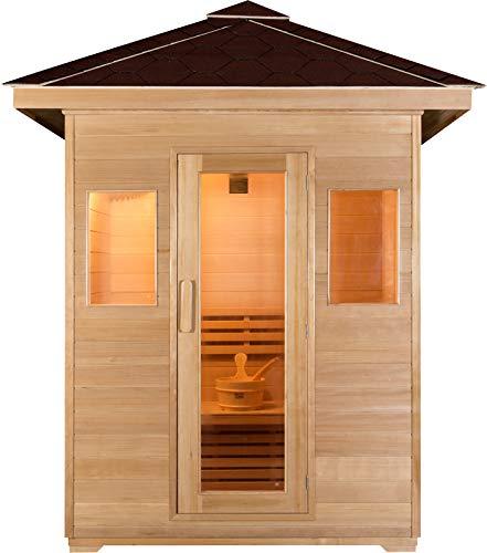 Symbolic Spas 3 Person Outdoor Steam Sauna - 4KW Wet Dry Heater 220V 30 Amp 200 Plus Degrees - Canadian Hemlock Wood - Asphalt Roof - Rocks Bucket Ladle - 1 Year Parts Warranty