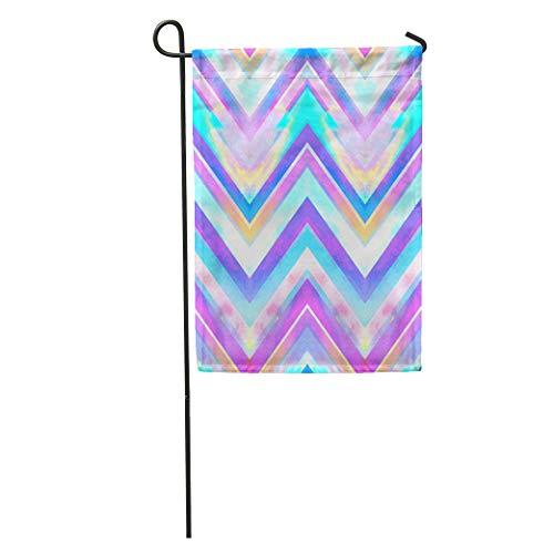 Semtomn Garden Flags 12 x 18 Colorful Tie Blue Zig Zag Watercolor Pattern Pink Dye Neon Aztec Outdoor Seasonal