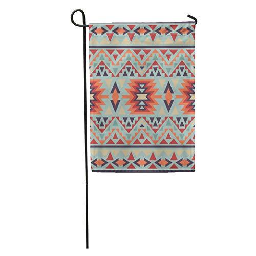Semtomn Garden Flags 12 x 18 Yellow Indian Colorful Navajo Pattern American Geometric Tribal Aztec Outdoor Seasonal