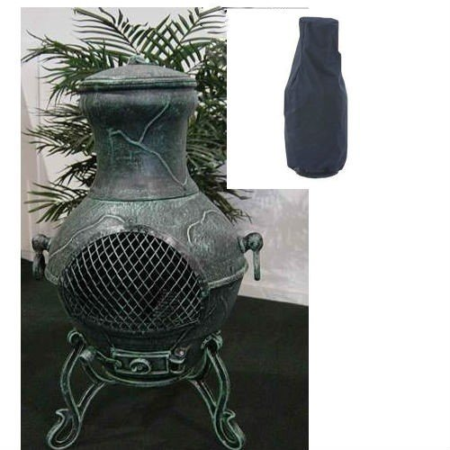 Blue Rooster Etruscan Style Wood Burning Outdoor Metal Chiminea Fireplace Antique Green Color With Small Black