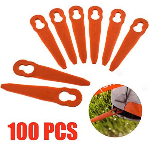 Zhengpin 100 PcsSet Plastic String Trimmer Blades Plastic Grass Trimmer Durable Replace Garden Grass Trimmer for Garden Grass Cuttering Replacement Blade Tool Parts Garden Tools