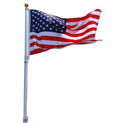 25 25 FT Feet Aluminum Telescoping Flagpole Kit With The United States Of America USA Flag
