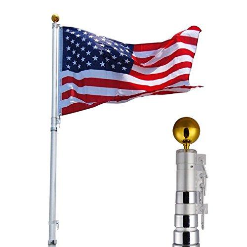 25ft Aluminum Telescoping Flagpole Kit Outdoor Gold Ball  1 US America Flag New