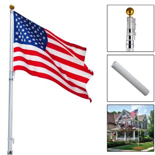 25ft Telescoping Flagpole US America Flag Kit Outdoor Gold Ball Aluminum New