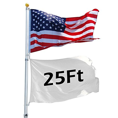 High Quality 25 Ft Aluminum Telescoping Flagpole Kit With 3-in Golden Ball Finial Pvc Ground Sleeve America Usa