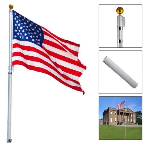 Telescoping Flagpole W/ 1 Us America Flag Kit Outdoor Gold Ball Aluminum 16ft