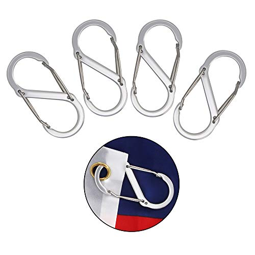 foxany Flags Snaps Hook Stainless Steel Flags Pole Clips Flags Hardware Flagpole Accessory Attach Flags Grommets to Halyard Rope 4 Pcs