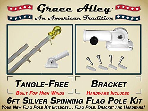 Flag Pole Kit Outdoor Flag Pole Kit Includes Tangle Free Spinning Flagpole And Flagpole Bracket For Amazon Prime