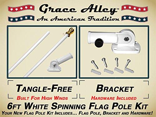 Flag Pole Kit Outdoor Flag Pole Kit includes Tangle Free Spinning Flagpole and Flagpole bracket White