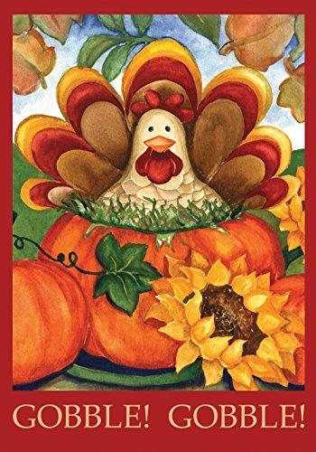 Toland - Autumn Turkey - Decorative Thanksgiving Fall Holiday Pumpkin Usa-produced Garden Flag