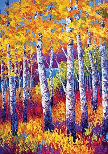 Toland - Blissful Birches - Decorative Colorful Multicolor Tree Autumn Fall Usa-produced House Flag