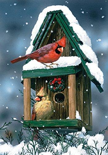 Toland - Cardinals In Snow - Decorative Winter Red Bird Birdhouse Snowflake USA-Produced Garden Flag