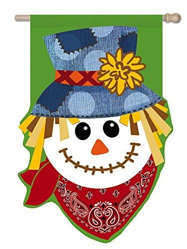 Evergreen Burlap Happy Scarecrow House Flag 28 X 44 Inches