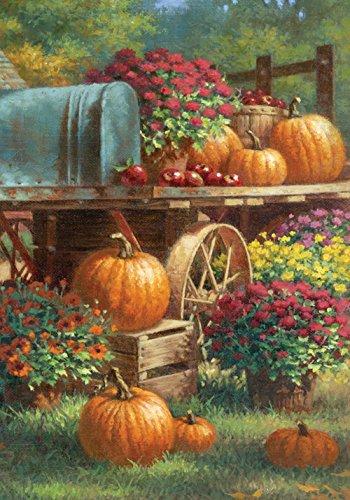 Toland - Farm Pumpkin - Decorative Harvest Fall Autumn Flower Floral Rustic Usa-produced House Flag