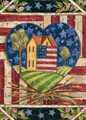 Toland Home Garden American Folk Heart 28 X 40-inch Decorative Usa-produced House Flag
