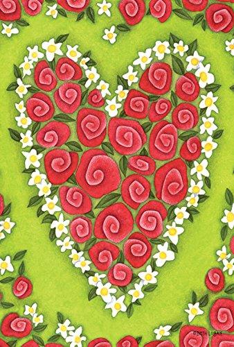 Toland Home Garden  Heart Rose 28 x 40-Inch Decorative USA-Produced House Flag