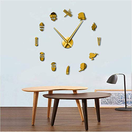 WPFZH Acrylic Wall Clock Barber Pole Shears Beauty Salon DIY Wall Art Giant Wall Clock Big Needle Frameless Barbering Shop Hairdressing Large Wall Watch Gold 47inch