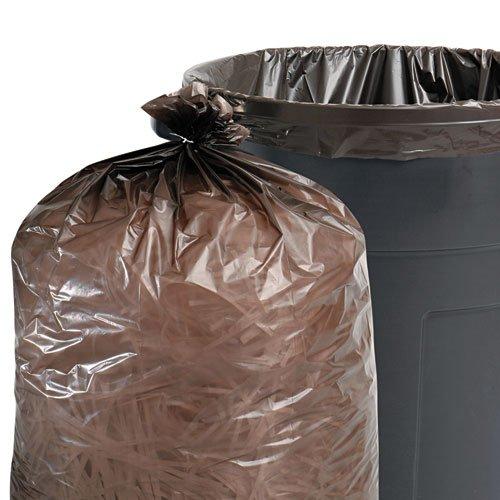 100 Recycled Plastic Garbage Bags 60gal 15mil 36 x 58 Brown 100Carton