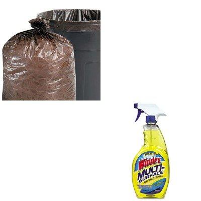 KITDRACB701380STOT5051B15 - Value Kit - Stout 100 Recycled Plastic Garbage Bags STOT5051B15 and Windex Antibacterial Multi-Surface Cleaner DRACB701380