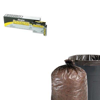 KITEVEEN91STOT3658B15 - Value Kit - Stout 100 Recycled Plastic Garbage Bags STOT3658B15 and Energizer Industrial Alkaline Batteries EVEEN91