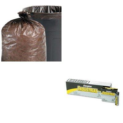 KITEVEEN91STOT5051B15 - Value Kit - Stout 100 Recycled Plastic Garbage Bags STOT5051B15 and Energizer Industrial Alkaline Batteries EVEEN91