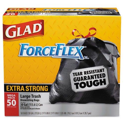 Drawstring Outdoor Trash Bags Forceflex 30 X 32 Black 50box