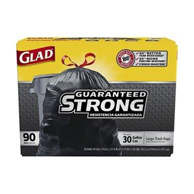 GladDrawstring Trash Bags 30 x 33 30gal 11mil Black 90Case
