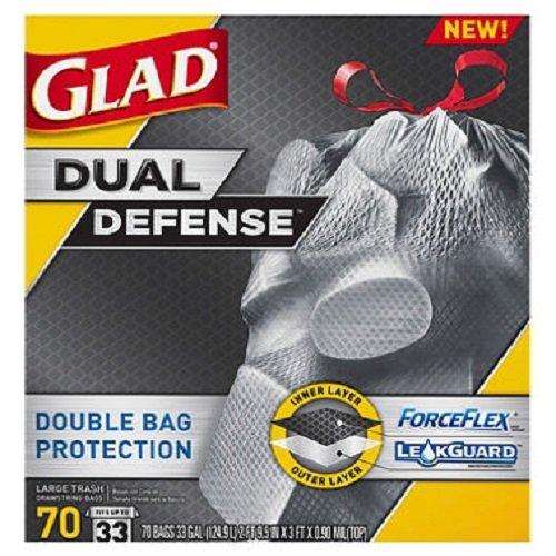 Glad Forceflex Dual Defense Large Drawstring Trash Bags 33 Gal 70 Ct