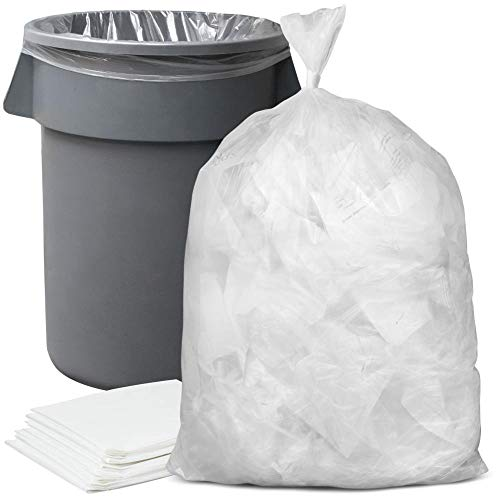 Plasticplace 55-60 gallon Trash Bags │ 16 Microns │ Clear High Density Garbage Can Liners │ 43 x 48 150 Count