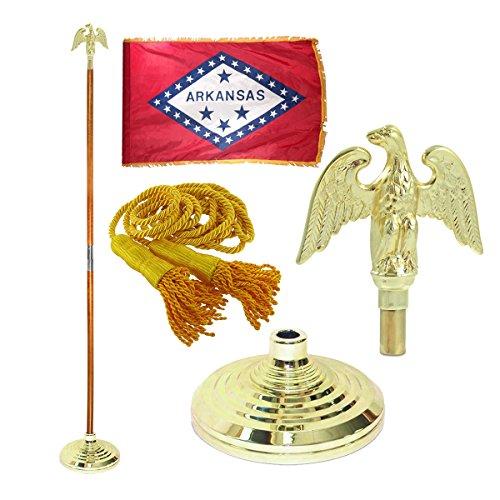 Arkansas 3ft x 5ft Flag Flagpole Base and Tassel Metal Eagle 8 Ft Oak Pole