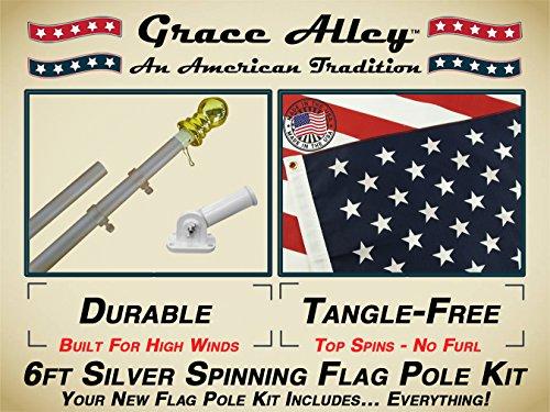 Grace Alley Wind Resistant  Rust Free Aluminum Flag Pole Kit Bundle with US Flag Flagpole and Flagpole Bracket 6-Feet Silver