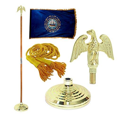 New Hampshire 3ft x 5ft Flag Flagpole Base and Tassel Metal Eagle 7 Ft Oak Pole