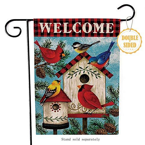 Hzppyz Welcome Cardinal Christmas Garden Flag Home Decorative Spring Outdoor Flag Sign Rustic Burlap Farmhouse Yard Garden Flag Vintage Winter Outside Decoration Home Decor Flag 125 x 18