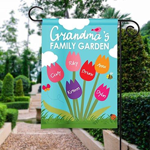 Grandmas Family Garden Design Personalized Housegarden Flag Banner