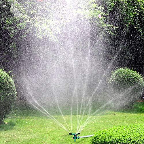 Blisstime Lawn Sprinkler Automatic 360 Rotating Garden Water Sprinklers Lawn Adjustable 3 Arms Sprayer Irrigation System Leak-Proof Design and Spike Base